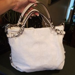Coach Brooke Perforated White Leather Hobo Bag